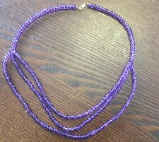14kt Yellow Gold Genuine Purple Faceted Rondell Amethyst Beaded Drape Necklace