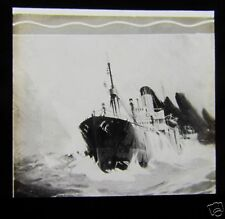 Glass Magic lantern slide THE TRIUMP OF THE TRAMP SHIP ARCHIBALD HURD C1910