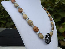 "19"" Handmade Oval Picasso Jasper and Crystal Necklace"