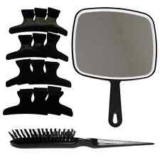 Black Mirror, Back Comb Backcombing Hair Brush & 12 x Large Butterfly Clamps