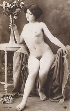 Artistic ROMANTIC FRENCH NUDE & FLOWERS Antique EROTIC PHOTO by Jean Agélou SEXY