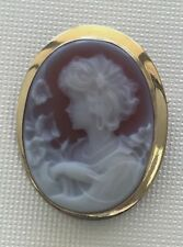 Signed Vtg Italy 750/18K Gold Red Agate Hard stone Cameo Lady Pendant Brooch Pin