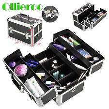 Ollieroo Aluminum Makeup Train Case Jewelry Box Cosmetic Bag Organizer Top
