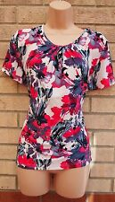 ANNA ROSE WHITE BLUE PINK FLORAL QUILTED FEEL VINTAGE BLOUSE TOP TUNIC VEST 14
