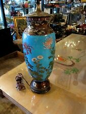 "17"" TALL JAPANESE MEIJI PERIOD CLOISONNE lamp peking blue with ducks and flowers"