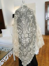 ANTIQUE LACE-SUPERB LARGE  19THC. BRUSSELS LACE TRIANGULAR LACE SHAWL