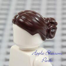 NEW Lego Female Girl Minifig Dark BROWN HAIR - Padme Short Head Gear w/Bun Knot