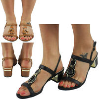 NEW WOMENS LADIES LOW MID HEEL BUCKLE OPEN TOE ANKLE STRAP SHOES SANDALS SIZE