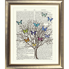 ART PRINT ON ORIGINAL ANTIQUE BOOK PAGE Butterfly Tree Vintage Upcycled Wall