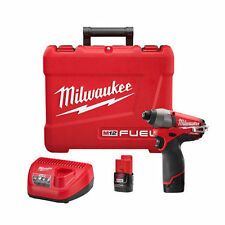 "NEW Milwaukee M12 12 Volt Fuel 1/4"" Hex Cordless Impact Driver Kit 2453-22"