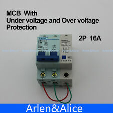 2P 16A 400V~ 50HZ/60HZ MCB MN+MV with over voltage and under voltage protection