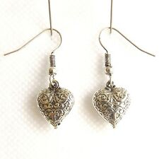 SMALL SILVER PLATED DROP EARRINGS, HEART SHAPED DESIGN WITH FILIGREE STYLE.