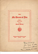 My DREAM OF YOU Music Sheet-1906-Autographed John T. Leahy/Duncan Belcher
