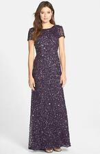 Adrianna Papell Amethyst Short Sleeve Sequin Mesh Gown-Size 12 Petite