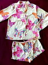 Victoria's Secret Satin Pajamas 2-pc Yellow with Butterfly size L