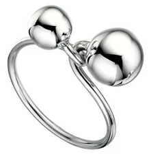 12mm/8mm SOLID 925 Sterling Silver Duo Twisted Sphere BALLS ring 5.36g Size 7.5