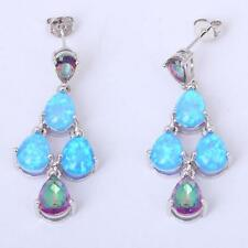 STUNNING Silver/Rhodium Plated BLUE FIRE OPAL/MYSTIC TOPAZ STUD EARRINGS 42x12mm