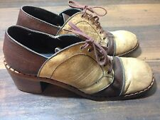 Vintage Tan / Brown Leather Womens Shoe made in Italy 7 1/2 AAA Lace Up Platform