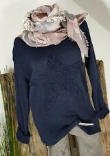 NEU ITALY LEGER LONG PULLI MOHAI&WOLLE OVERSIZE ★BIG★ STAR STERN NAVY BLUE 36-42