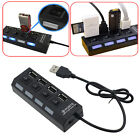 Black LED 4 Port USB 2.0 Hub High Speed Power On/Off Button Switch for Laptop PC