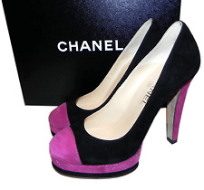 CHANEL CC logo Cap toe Logo Quilted Platform Pump Heel Shoes 38/ 7.5 black pink