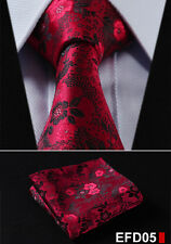 "Floral 3.4""Silk Woven Wedding Men Pocket Square Tie Necktie Handkerchief Set EFD"