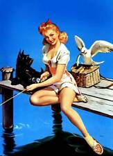 "Vintage GIL ELVGREN Pinup Girl CANVAS ART PRINT Poster Fishing Jetty- 16""X 12"""