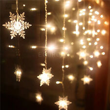 Warm White Snowflake Curtain 120LED String Lights Xmas Wedding Decor Party Lamp