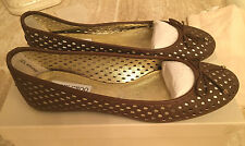 JIMMY CHOO WALSH PERFORATED LEATHER BALLET FLATS - NOISETTE - 9.5B - $495 NIB!!!