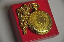 Golden Pocket Watch Pocket Watch Chain Pendant Necklace In Leatherette Gift box