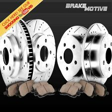 FRONT + REAR DRILL SLOT BRAKE ROTORS CERAMIC PADS 2013 2014 2015 2016 Ford Focus