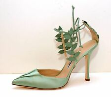 New Manolo Blahnik Green Grepe Satin Leaf Strappy Ankle Shoes Size 41,US-11