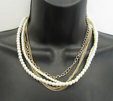 Gold White Faux Pearl Cluster Necklace Choker 1920s Great Gatsby Chain 1930s 2AB