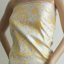 Chinese brocade fabric white basic golden pheonix taiL by yard-cbs-536