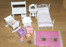 DOLLS HOUSE 12TH SCALE NURSERY BEDROOM SINGLE BED TOYS RUG CRADLE HIGHCHAIR BABY