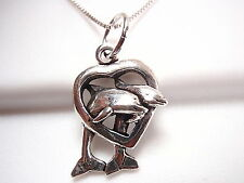 Dolphin Family Male and Female Jumping Through Heart Necklace Sterling Silver