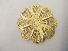 Raw Brass 8 petal Filigree Jewelry Findings 6 pieces