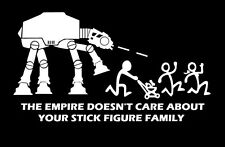 The Empire Doesn't Care About Your Stick Figure Family Vinyl Sticker Car AT-AT