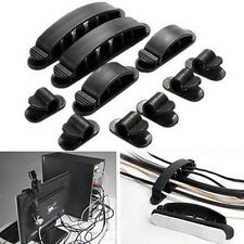 10pcs Cable Cord Wire Line Organizer Clips Ties Fixer Fastener self adhesive