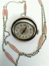 Rare Art Deco Silver Guilloche Enamel Pendant Watch & Chain. Working order. Wow
