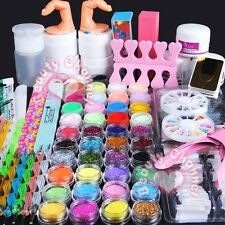 Acrylic Powder Glitter UV Gel Primer Nail Art Tips Pen Brush Block File Kit Set