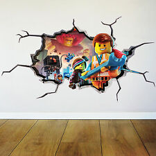 LEGO MOVIE EMMET FULL MULTI COLOUR 3D wall art stickers boys bedroom transfers