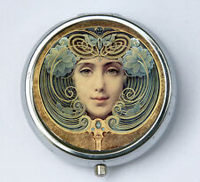 Art Nouveau Face PiLL case pillbox pill holder butterfly flowers
