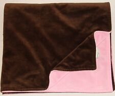 Amy Coe Pink & Brown Velour Baby Blanket