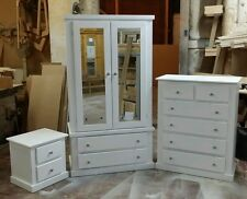 HANDMADE AYLESBURY WHITE  3 PEICE DUBBLE  MIRROR BEDROOM SET **  NO FLAT PACK**