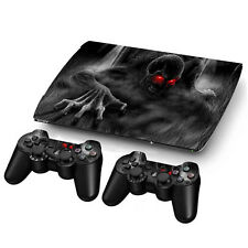 Skull Sticker Decal For PS3 PlayStation Super Slim 4000 + 2 Controllers Skins