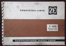 ZF Schlepper Triebwerk T 335 Eicher - Schlüter Torpedo - I.H.C. Ersatzteilliste