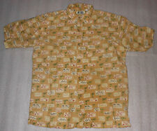 Bugle Boy Authentics Mens Button Front Hawaiian Casual Shirt Palm Trees - Size L