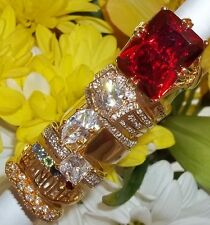 NOS Seta Gold Plated Ring Lot B89 sz 8 - 8 3/4 Marquise CZ Engagement Halo Red