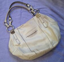 B.MAKOWSKY Large Genuine Leather Cream Corinth Handbag, MSRP $298.